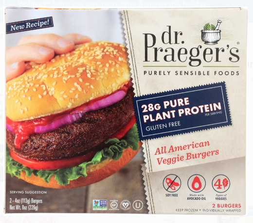 Screenshot of Dr Praegers All American Veggie Vegan Burger