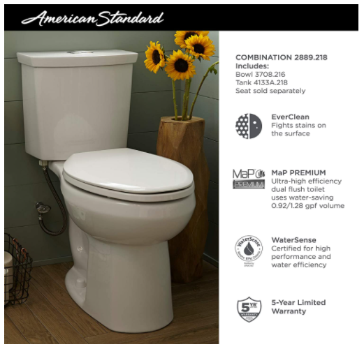 Screenshot of the American Standard Dual Flush Low Flow Eco-Friendly Toilet from Instagram