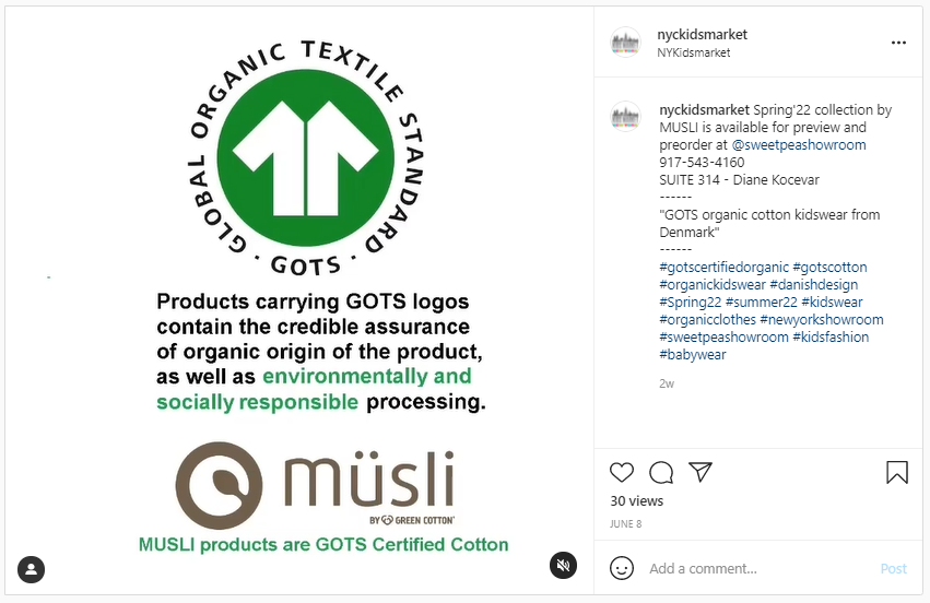 Greenwashing - GOTS Label that certifies a product is organic