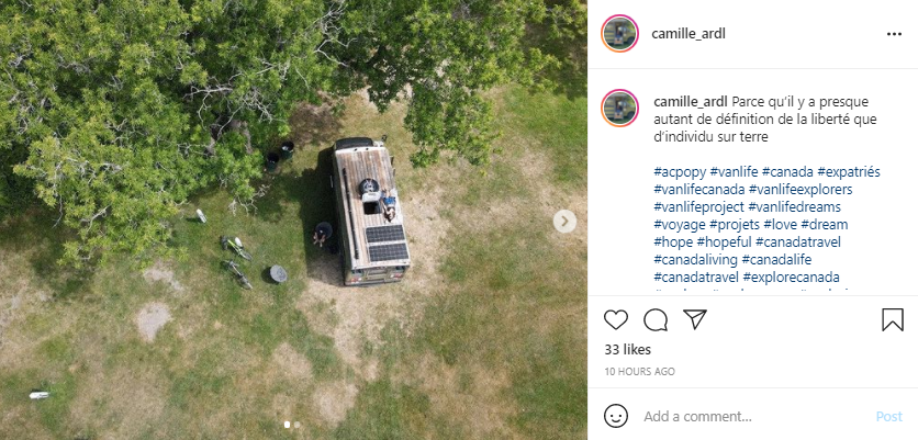 Living in a Van - Solar Panels on the Roof - Screenshot from Instagram