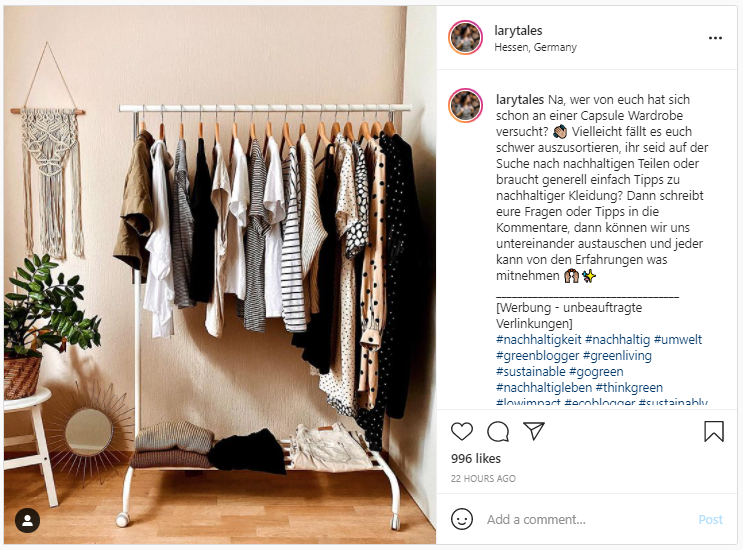 Screenshot from Instagram - Natural Fibers in a Sustainable Capsule Wardrobe