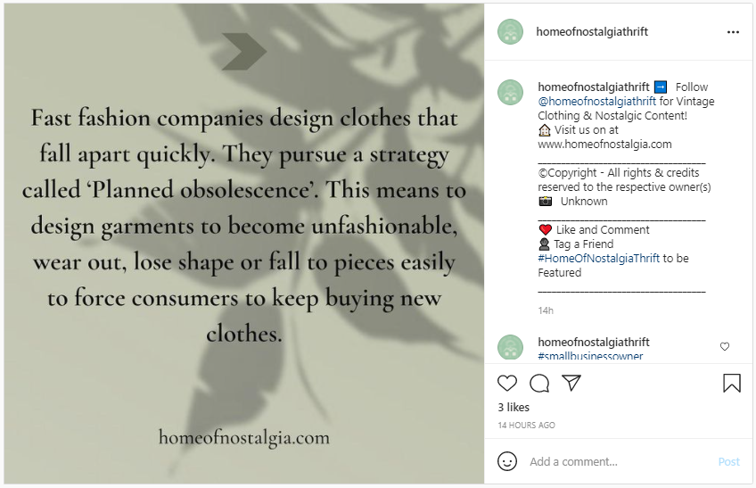 Screenshot from Instagram - Long Lasting Natural Fibers vs Fast Fashion and planned obsolescence