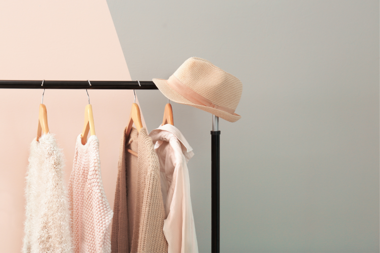 Royalty Free Image from Canva - Natural Fiber clothing on a garment rail
