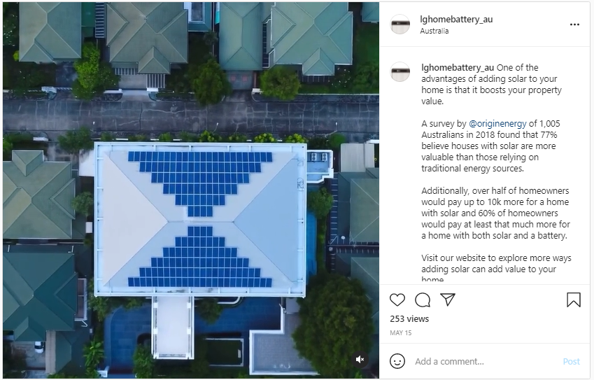 Solar Power Increases Property Value - Screenshot from Instagram