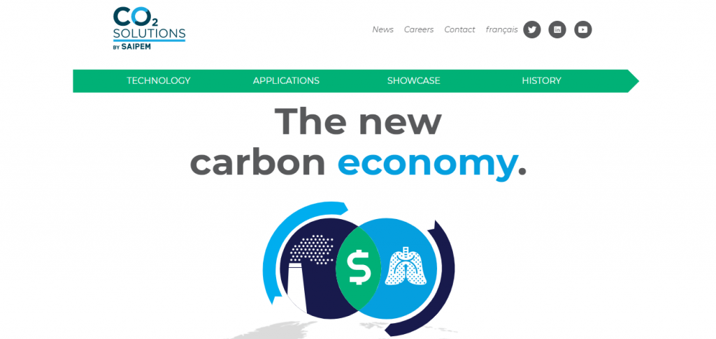 Carbon Capture Companies - Screenshot of the CO2 Solutions Homepage