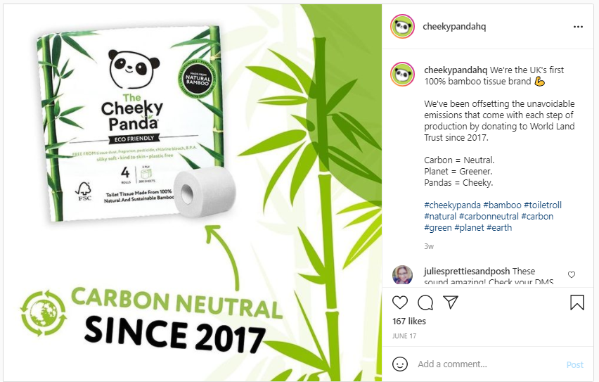 Instagram screenshot of Cheeky Panda Toilet Paper made from sustainable and eco-friendly bamboo