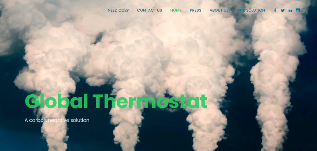 Carbon Capture Companies - Screenshot of the Global Thermostat Homepage