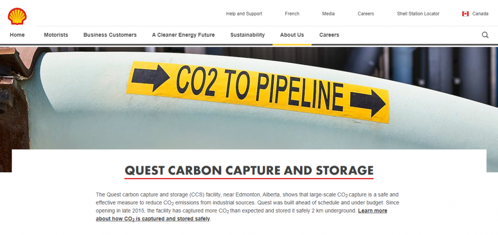Carbon Capture Companies - Screenshot of the Quest by Shell Homepage