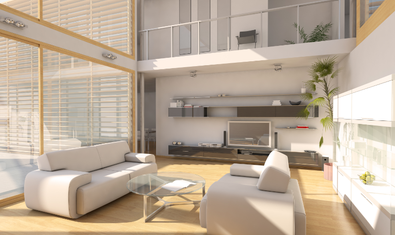 Royalty free image from Canva of a modern apartment interior with white furniture and big windows