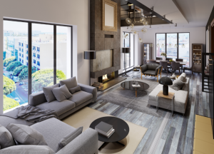 Co-living lounge - Royalty free image from Canva of a large, modern lounge area