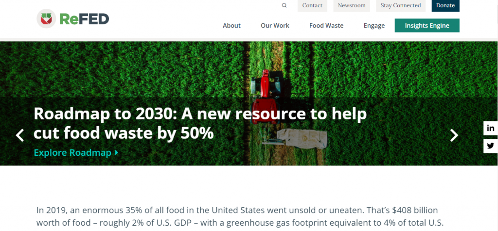 Food Waste Solutions - Screenshot of the ReFED Homepage
