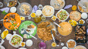 Free image from canva of a top view of a table of leftovers from a party