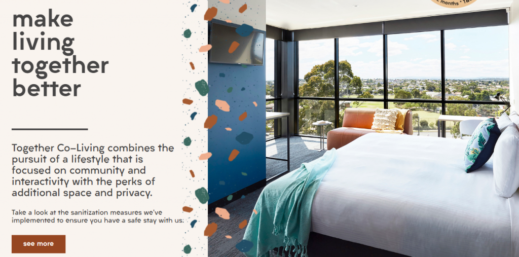 Screenshot of the homepage for Together Co-Living in Melbourne