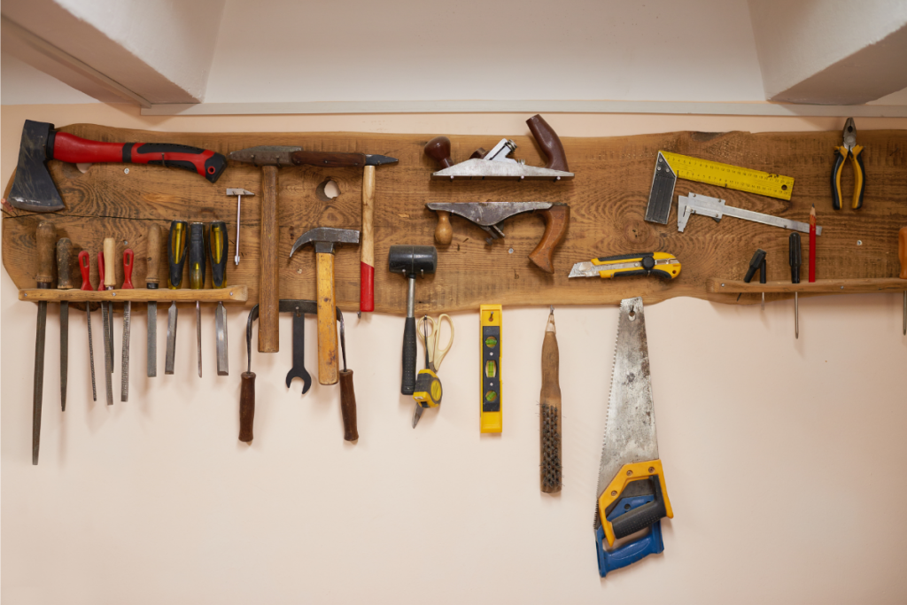 living off the grid - tool kit hung on a display board