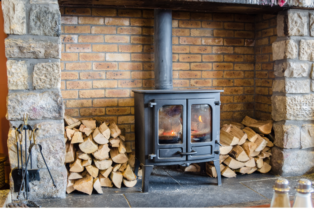 living off the grid - wood burning stove