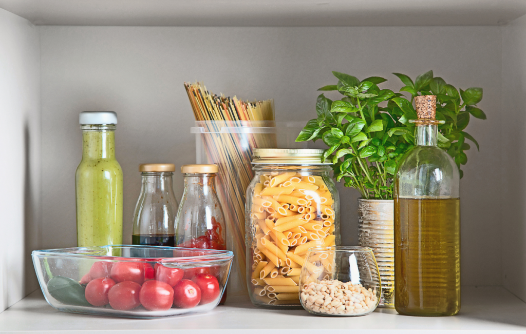 Eco Swaps - Image from Canva of Glass Storage Containers with pasta and sauces in them