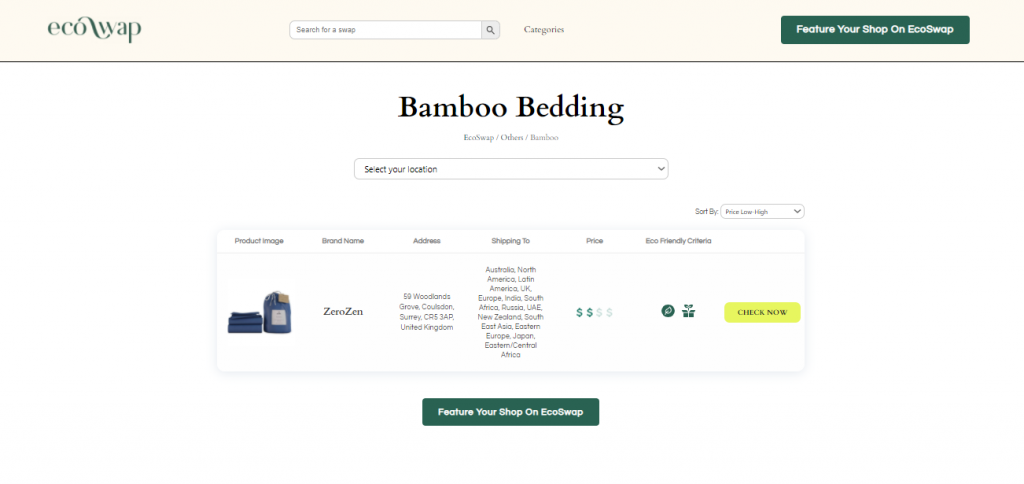 Eco Swaps - Screenshot of the search results on EcoSwap.me for Bamboo Bedding