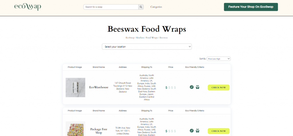 Eco Swaps - Screenshot of search results from EcoSwap.me