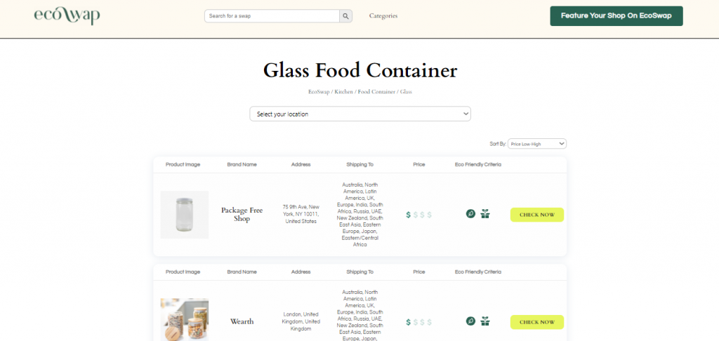 Eco Swaps - Screenshot of the search results on EcoSwap.me for glass food containers