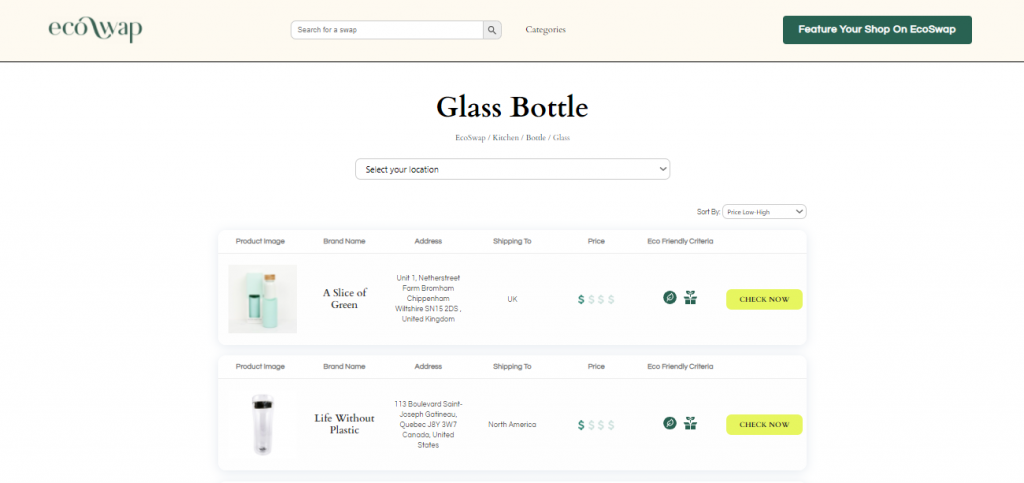 Eco Swaps - Screenshot of the search results on EcoSwap.me for glass Water Bottles