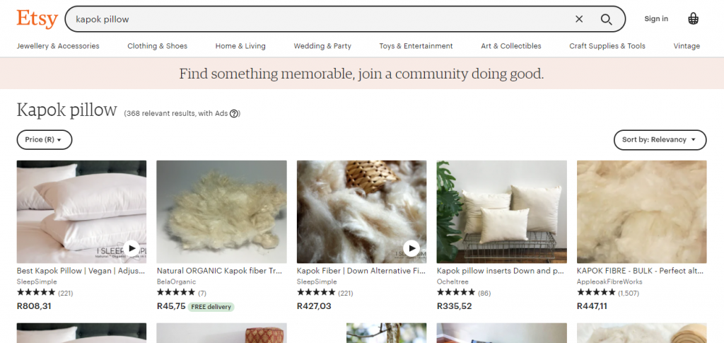 Eco Swaps - Screenshot of the search results on Etsy