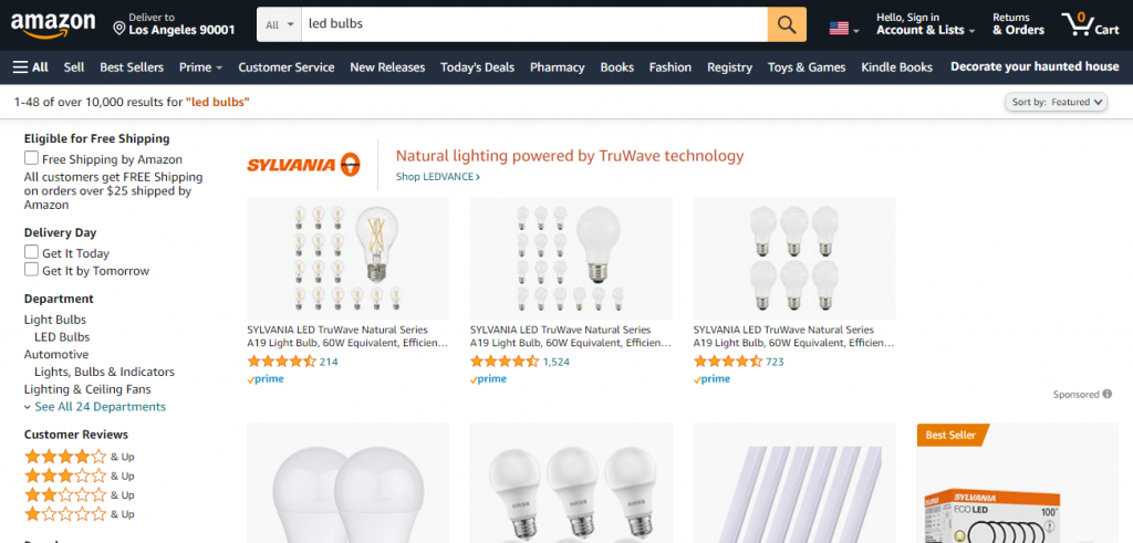 Eco Swaps - Screenshot of the search results for LED light bulbs on Amazon
