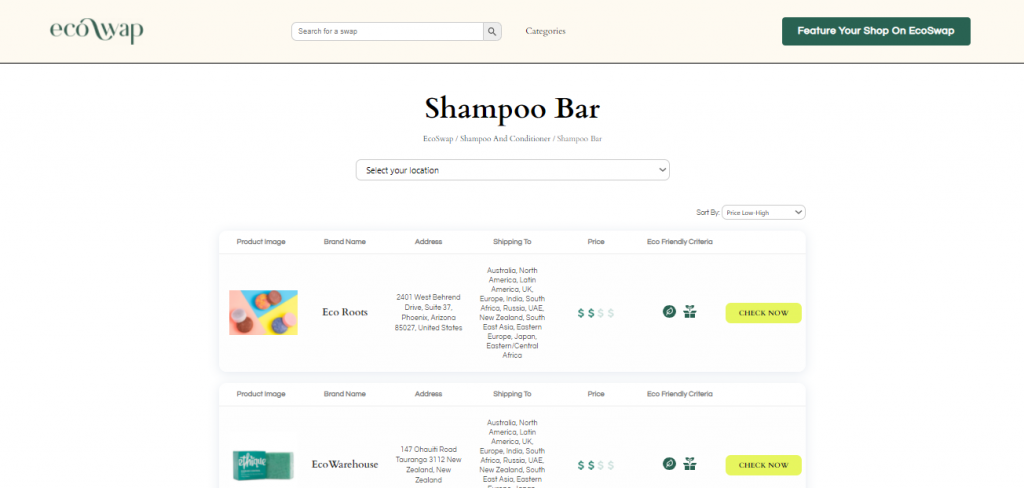 Eco Swaps - Screenshot of the search results on EcoSwap.me for Shampoo Bars