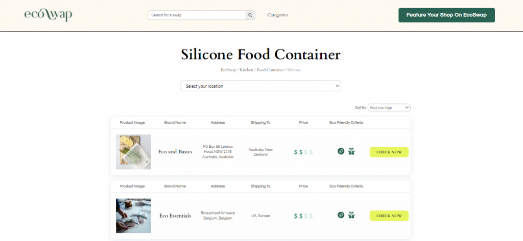 Eco Swaps - Screenshot of the search results on EcoSwap.me for Silicone Food Containers