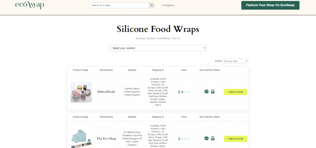 Eco Swaps - Screenshot of the search results on EcoSwap.me for Silicone Food Wraps