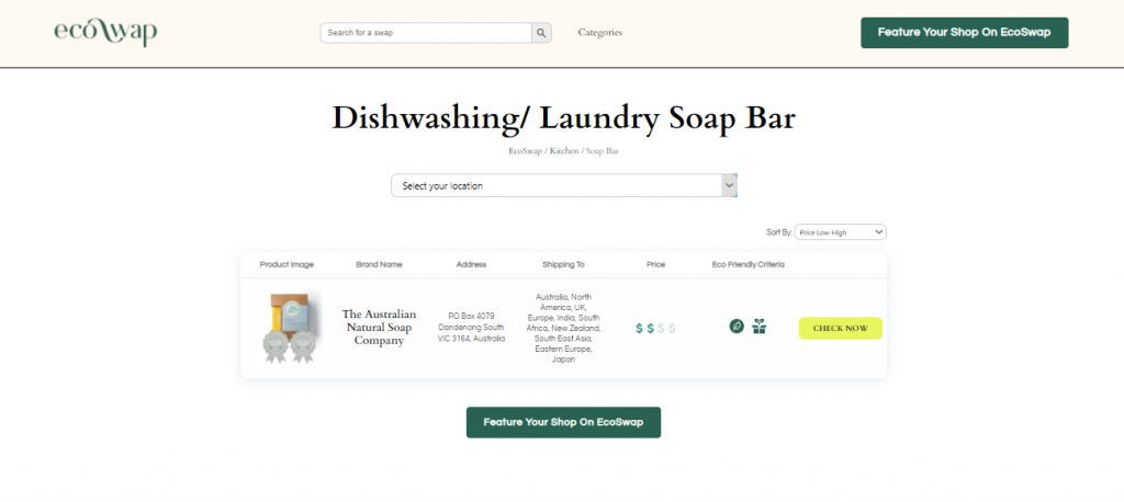 Eco Swaps - Screenshot of the search results on EcoSwap.me for kitchen soaps