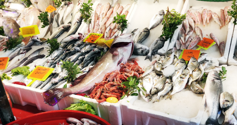 wild-caught fish - stock image from Canva of a wet fish market