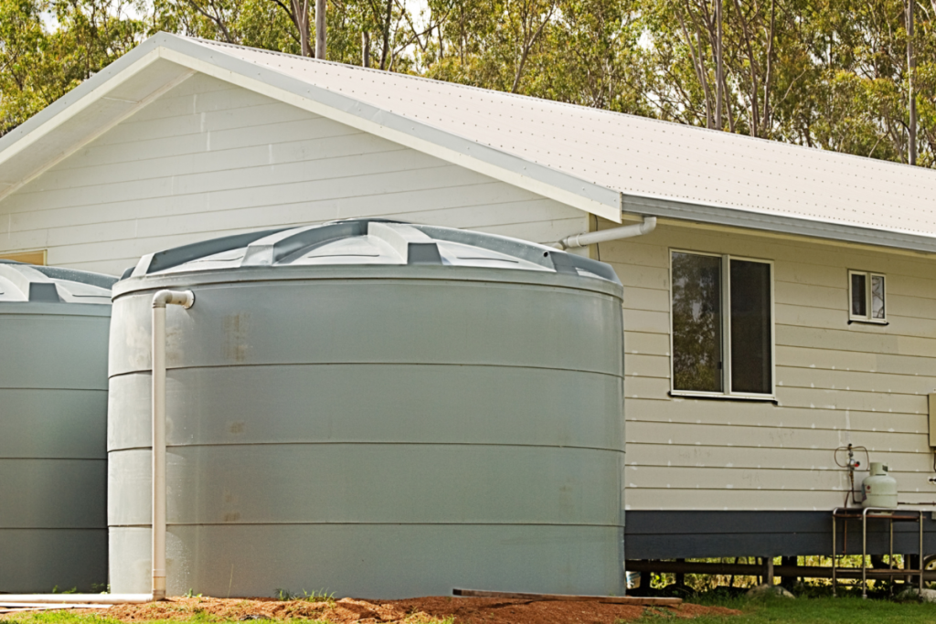 Self-sufficient homes: image of rainwater harvesting tanks on a new house