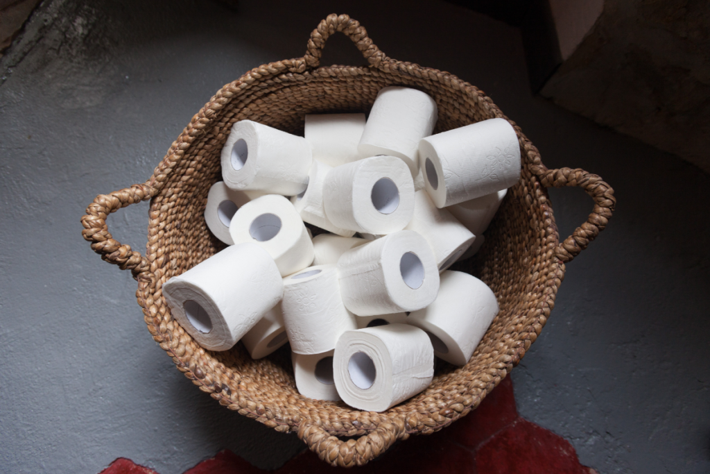 Eco swaps - basket of white toilet paper rolls - image from Canva